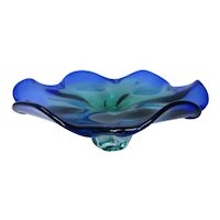 Murano~Venetian Art Glass Bowl - Cobalt Blue to Emerald Green