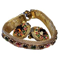 Brilliantly Modern Design Weiss Rhinestone Mesh Gold Tone Bracelet with Colorful Rhinestone & Matching Clip On Earrings