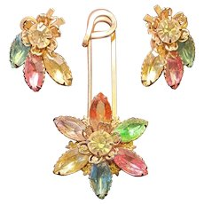 Unique Vintage Safety Pin Rhinestone Flower Brooch and Earring Set Signed CATHE