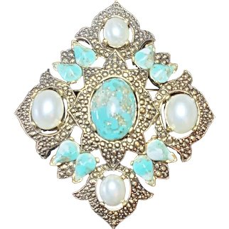 Fabulous Vintage Sarah Coventry Brooch in Faux Pearl and Turquoise