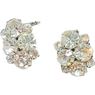 Vintage Signed Weiss Large Round, Marquise, and  Clear Rhinestone Clip Earrings