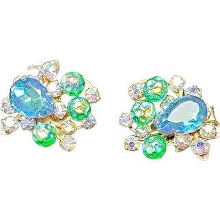 Beautiful Beau Jewels Vintage Green And Blue, Clear Rhinestone Clip On Earrings