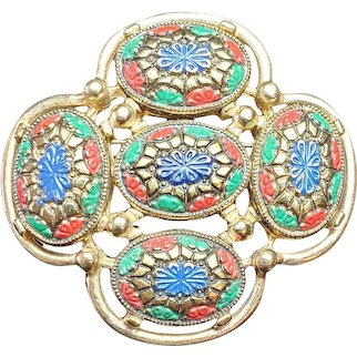 """Vintage Multi Color """"Light of the East"""" Sarah Coventry Enamel Brooch, Gold, Red, Blue, Green Mosaic Pin, Moroccan style, Abstract Flower"""