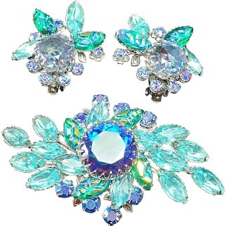 Beautiful Vintage Judy Lee Shades of Blue, Green Molded Glass and AB Rhinestone Floral Brooch and Earrings