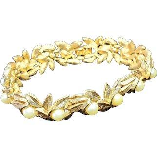 Avon Vintage Jewelry  Avon Faux Pearl Leaf Bracelet Gold Tone
