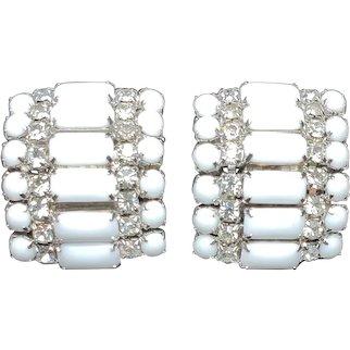 Stunning Vintage 1940's White Glass Baguette & Rhinestone Deco Style Clip On Earrings ... Signed: Kramer .. True Forties 40's