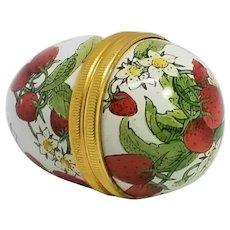 Halcyon Days Strawberry Egg-shaped Enameled Trinket or Pill Box