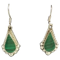 Vintage Taxco 925 Sterling Silver and Malachite Earrings