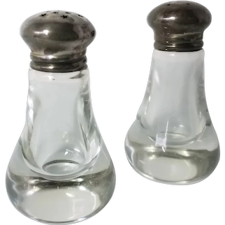 Vintage Crystal and Sterling Silver Salt and Pepper Shakers