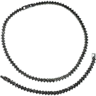 "Vintage Sterling Silver and Marcasite 17"" Necklace and 7.25"" Bracelet Set"