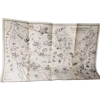 1926 Bill Whiffletree's Bootleggers Map of the United States by Edward McCandish