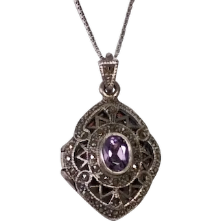 Vintage Sterling Silver and Marcasite Pendant Locket Set with an Oval Amethyst in the Center
