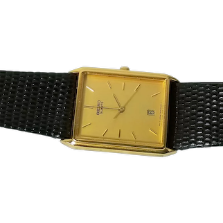 Men's Vintage Seiko Quartz Watch with Reptile Leather Band
