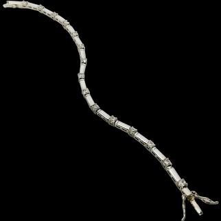 Vintage Sterling Silver and Cubic Zirconia Bar Link Bracelet
