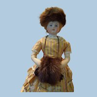 Dark Brown Mink Hat, Muff and Hat Box for Huret Reproduction