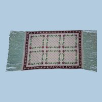 """One of a Kind Wool Needlepoint 15"""" Rug for Dolls"""