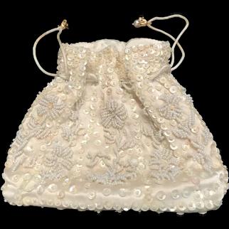 Vintage Satin Sequins & Pearls Purse