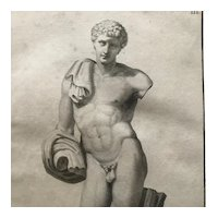Antique Statue Engraving by C. Randon, framed & matted