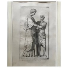 Roman Statue by C Randon Framed Antique Copper Engraving, framed & matted