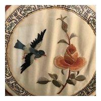 Blue Bird with Flower Silk Embroidery Needlepoint, framed