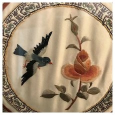 Blue Bird with Flower Silk Embroidery Needlepoint, framed