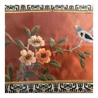 Flower with Bird Silk Embroidery Needlepoint, framed