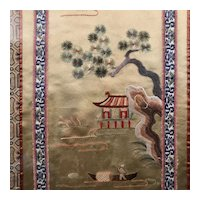 18313-10 - Chinese Asian Silk Fishing Landscape Embroidery Needlepoint , framed