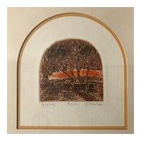 """Grove"" Original Block Print, signed & framed, Ltd Ed"