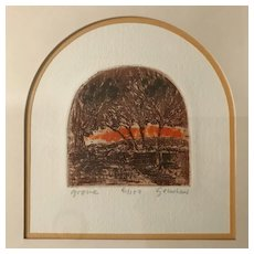 """Grove"" Original Block Print, signed & framed, Ltd Ed"