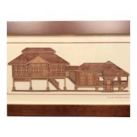 Handmade 2 D Wood Art of Malaysian Rumah Traditional Stilt