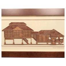 Handmade 2 D Wood Art of Malaysian Rumah Traditional Stilt