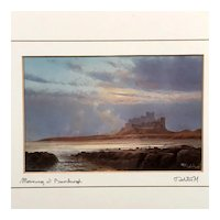 """Morning at Bamburgh"" Print Signed & Titled by Artist , Castle Landscape"