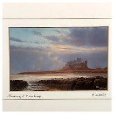 """Morning at Bamburgh"" Print Signed & Titled by Artist , Castle Landscape"