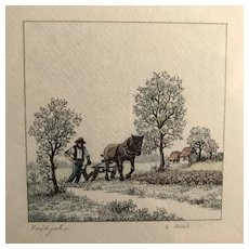 Farmer with Draft Horse Print, signed & framed
