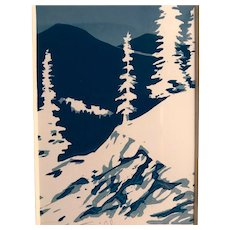 Mountain Snow Scene Original Block Print, Signed & Framed