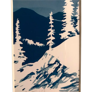 Mountain Snow Scene Original Block Print, Signed & Framed