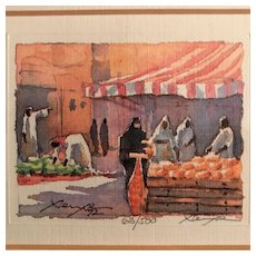Middle Eastern Market Scene, Signed & Framed