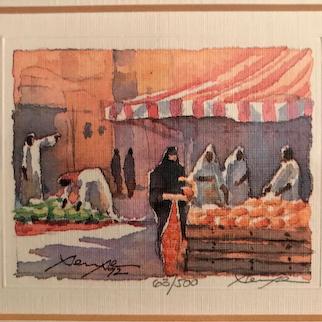 Middle Eastern Market Scene, Signed & Framed