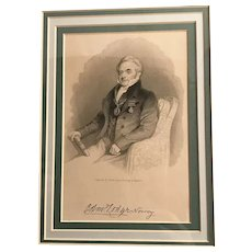 Antique Engraving of a Gentleman, after Maclise, framed & signed