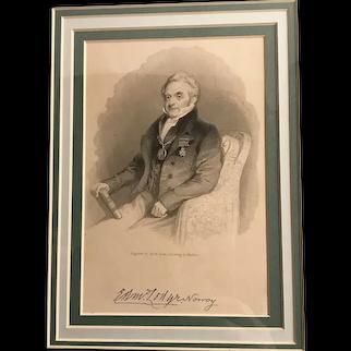 Antique Engraving of a Gentleman, after Maclise, framed & signed