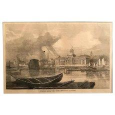 Framed 1862  Kingston Ontario Print