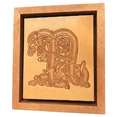 Unique Tooled Leather Norse/Celtic Style Art Piece, signed