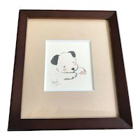 Asian Sleeping Puppy Dog Original Watercolor Signed Original