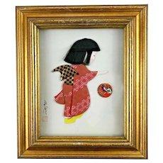 Little Girl in Kimono Japanese Textile Art, signed