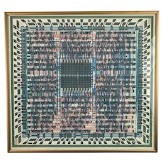 1987 Computer Integrated Circuit Schematic Print, Vintage Framed Art