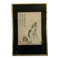 Framed Chinese Painting on Silk of Man with Tea