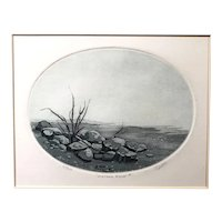"""""""Water's Edge"""" Original signed Etching by Ann Tuttle, Framed & Matted"""
