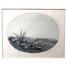"""Water's Edge"" Original signed Etching by Ann Tuttle, Framed & Matted"
