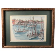 """""""Inner Harbor"""" Signed Print by W.H. Bond"""