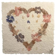 """Wildflowers"" Framed Pressed Flower Paper Art, Signed"